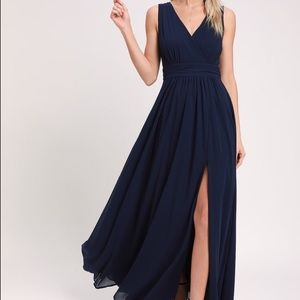 Lulus Thoughts of Hue Navy Blue Splice Dress
